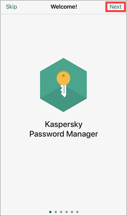 Beginning the initial setup of Kaspersky Password Manager