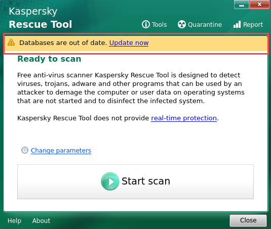 Warning in Kaspersky Rescue Disk 2018 about out-of-date anti-virus databases
