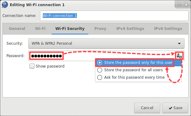 Configuring Password Parameters in the password entry field