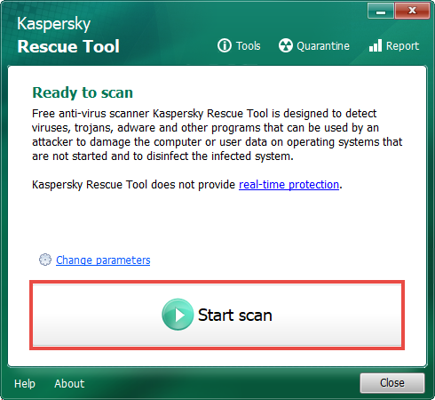 Starting a computer scan in Kaspersky Rescue Tool