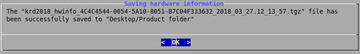 Notification about the saved hardware info log