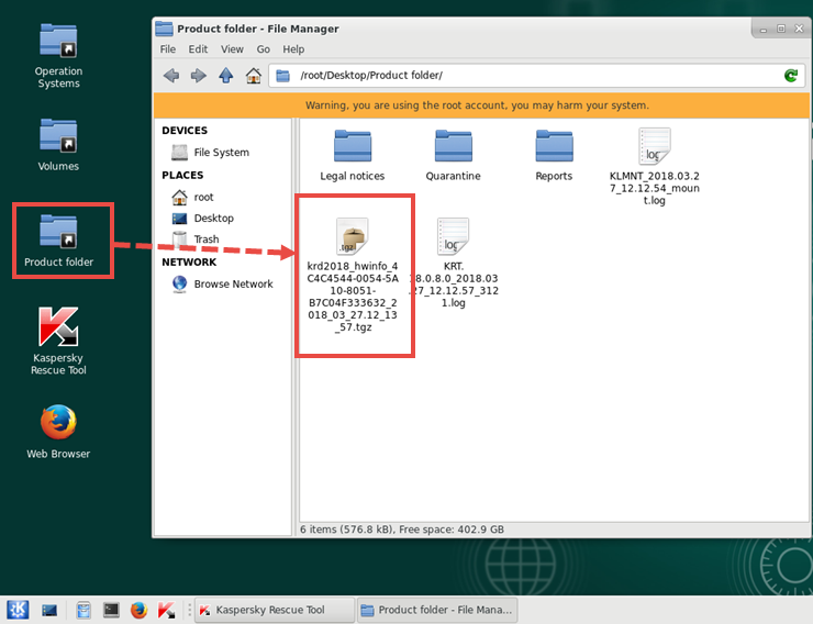 Hardware info file in the Kaspersky Rescue Tool file manager