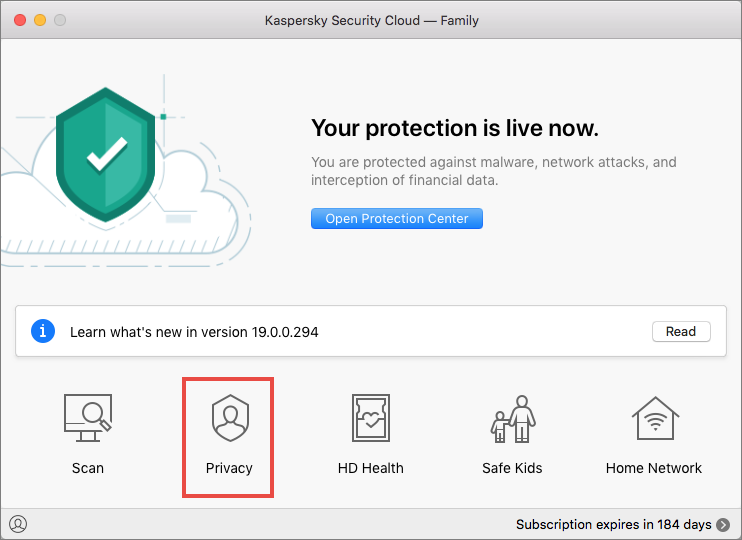 Opening the Privacy window of Kaspersky Security Cloud 19 for Mac