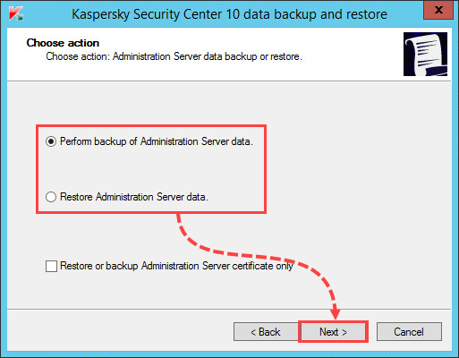 Starting a database backup or restoration in the klbackup tool