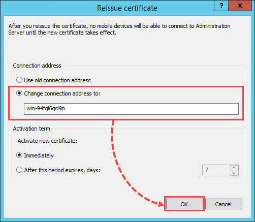 Reissuing a certificate in Kaspersky Security Center 10