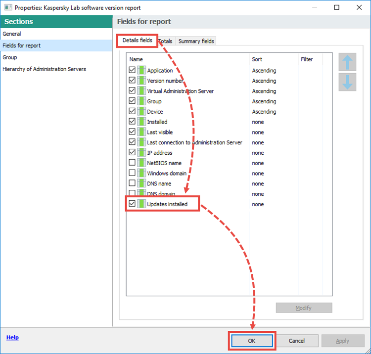 Configuring the report parameters in Kaspersky Security Center