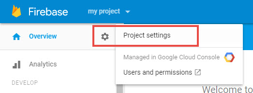 Image: Firebase project settings