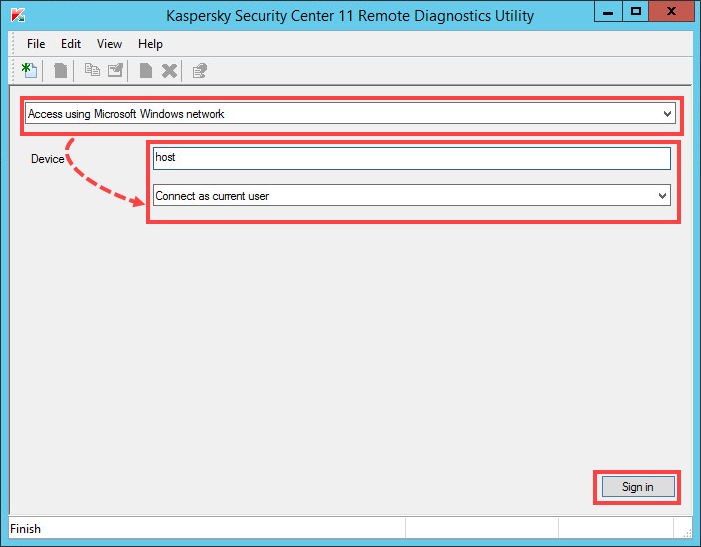 Connecting the managed computer using Microsoft Windows network in the klactgui tool