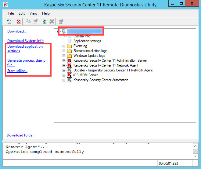 Executing additional operations in the remote diagnostics tool