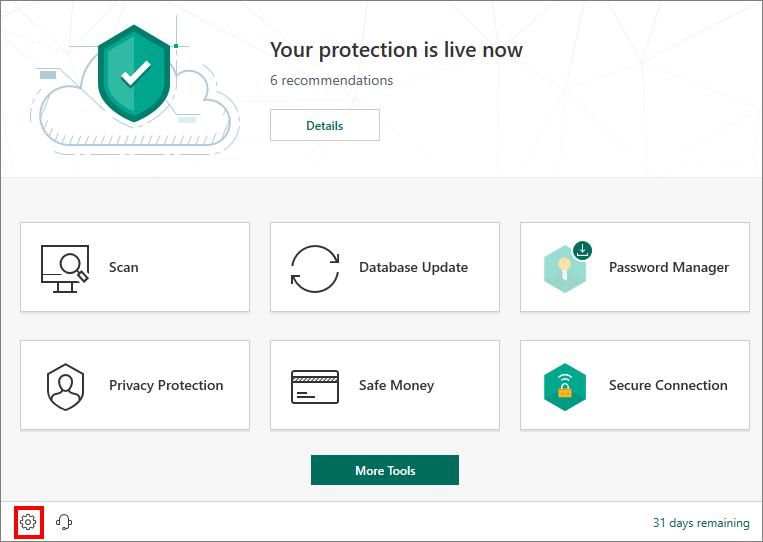 Opening the Settings window of Kaspersky Security Cloud 19