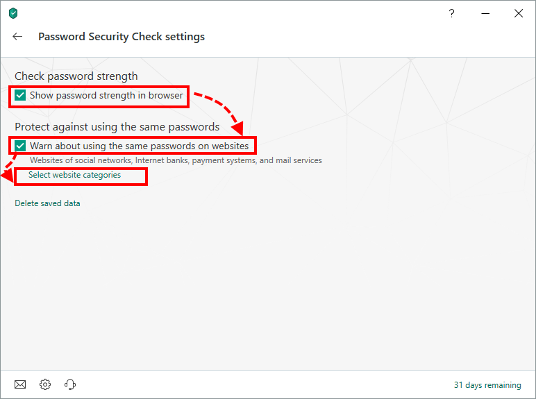 Configuring Password Security Check in Kaspersky Security Cloud 19