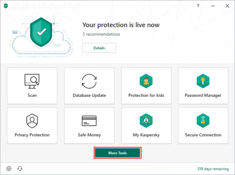 Opening the Tools window in Kaspersky Security Cloud 19