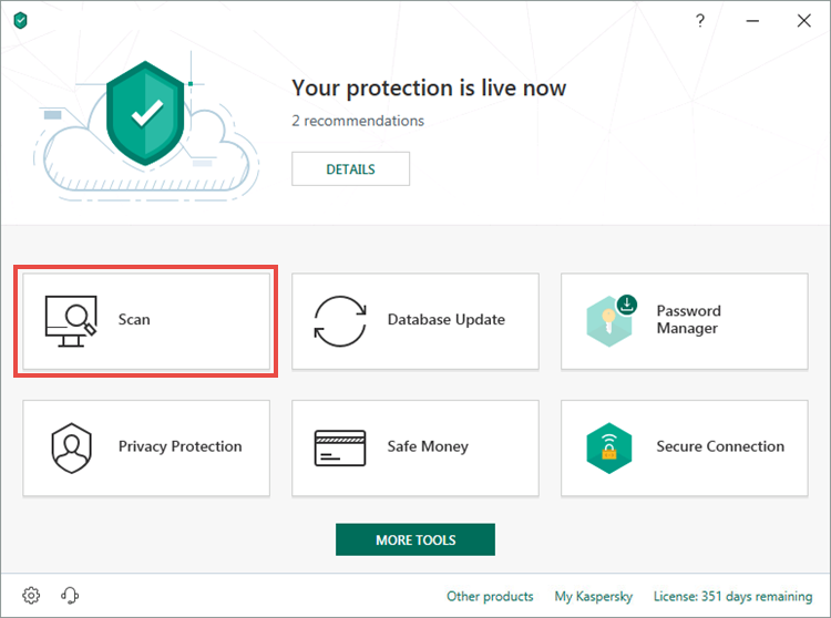 Opening the Scan window in Kaspersky Security Cloud 19
