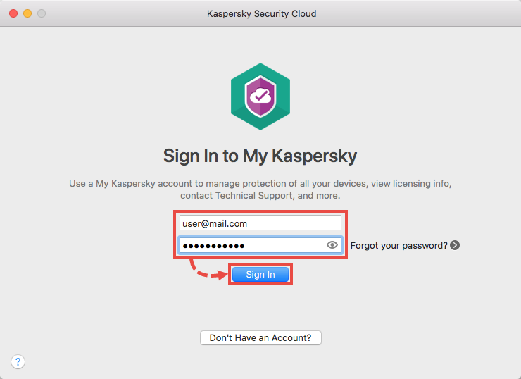 Connecting Kaspersky Security Cloud for Mac to My Kaspersky