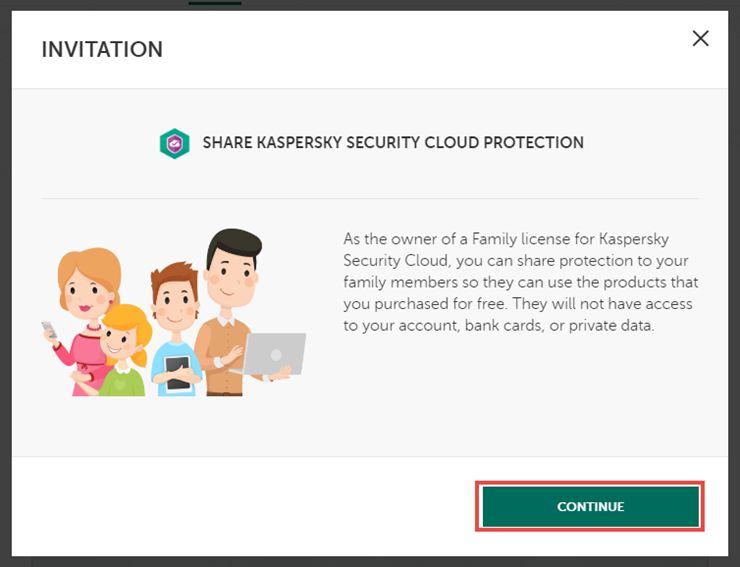 Sharing the Kaspersky Security Cloud 19 subscription