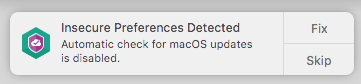 Viewing insecure preferences in Kaspersky Security Cloud 19 for Mac