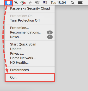 Quitting Kaspersky Secure Connection for Mac