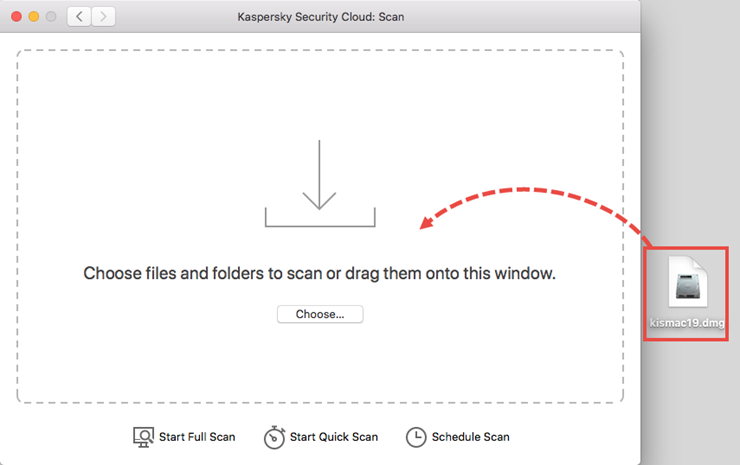 Starting a scan of a DMG file in Kaspersky Security Cloud for Mac