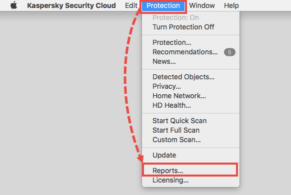 Opening the Reports window in Kaspersky Security Cloud for Mac