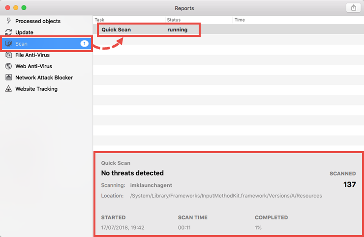 Viewing the scan task report in Kaspersky Security Cloud 19 for Mac