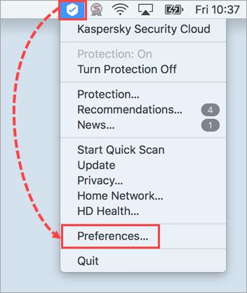 Opening the preferences of Kaspersky Security Cloud for Mac