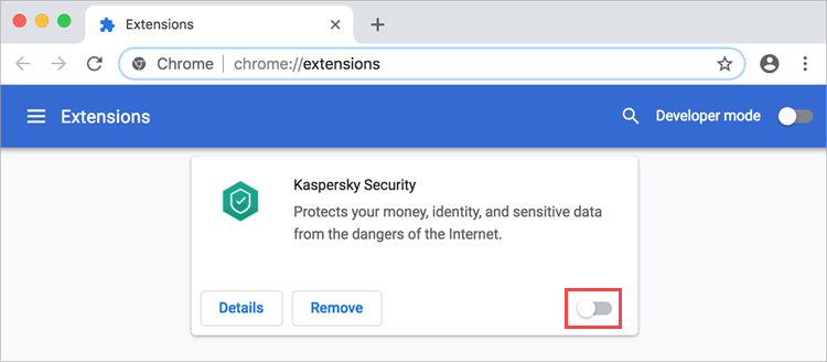 Disabling Kaspersky Security 19 in Google Chrome