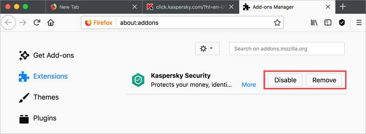 How to install or remove the Kaspersky Security browser