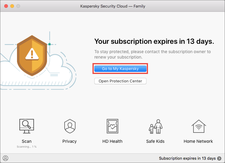 Opening the Licensing window in Kaspersky Security Cloud for Mac
