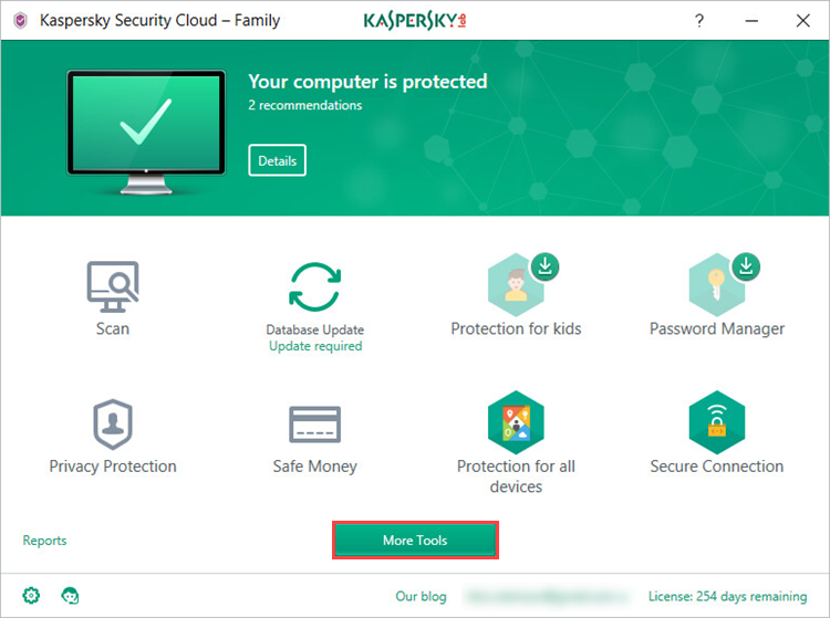 Image: How to select More Tools in Kaspersky Security Cloud