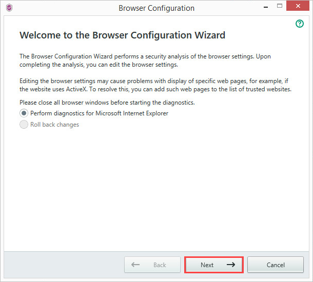 Image: How to run the Browser Configuration Wizard in Kaspersky Security Cloud