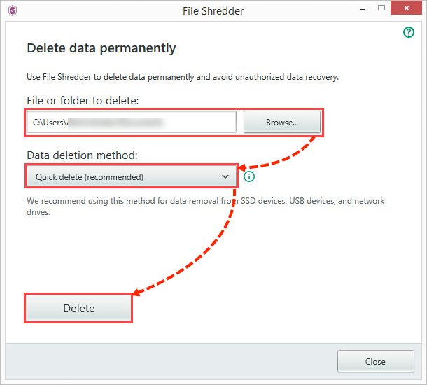 Image: How to delete data permanently