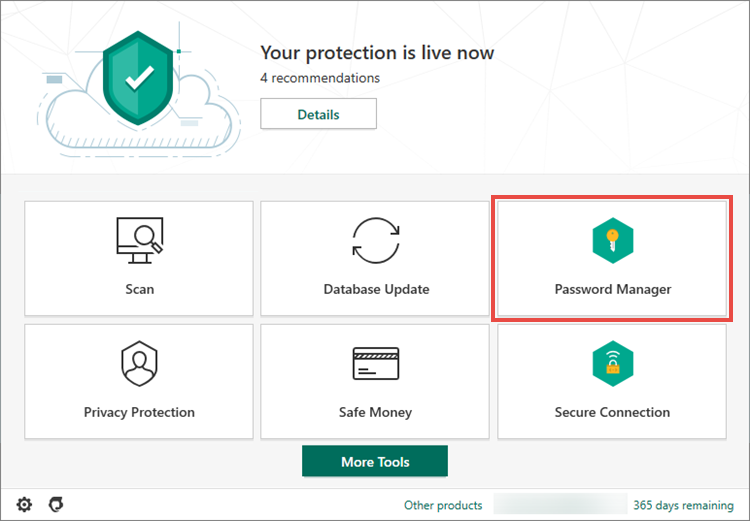 Opening Password Manager in Kaspersky Security Cloud 20