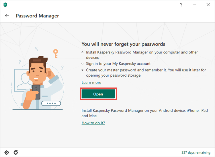 Installation of Kaspersky Password Manager from Kaspersky Security Cloud 20