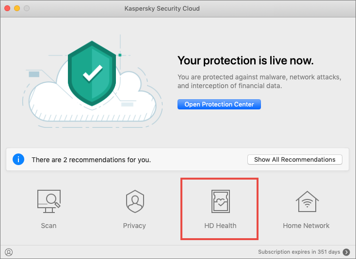 The HD Health feature in Kaspersky Security Cloud