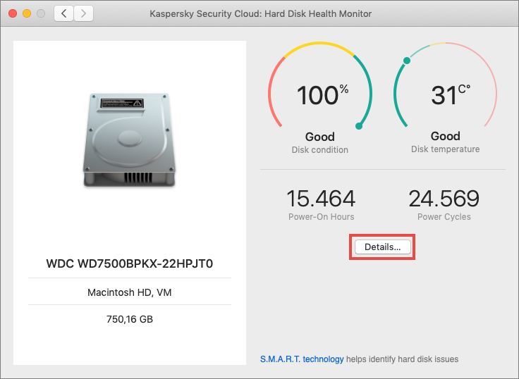 Checking the hard drive in Kaspersky Security Cloud 20 for Mac