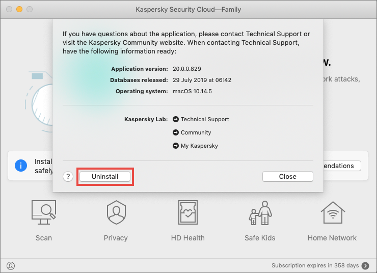 Uninstalling Kaspersky Security Cloud 20 for Mac