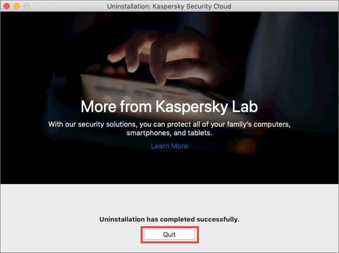 Completing removal of Kaspersky Security Cloud for Mac