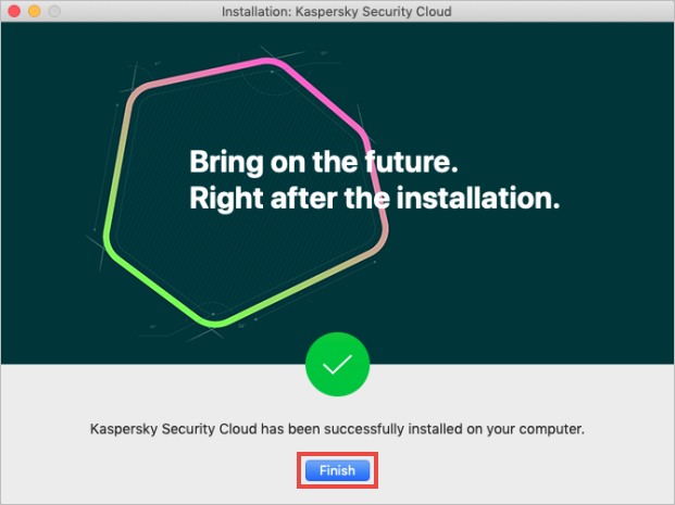 Completing the installation of Kaspersky Security Cloud for Mac