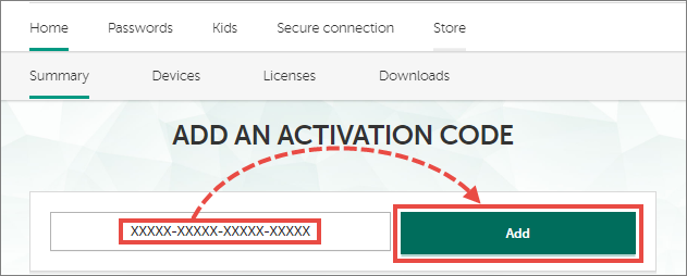 Adding an activation code for Kaspersky Security Cloud 20 to My Kaspersky