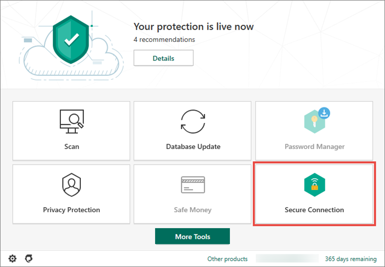 Opening Secure Connection in Kaspersky Security Cloud 20