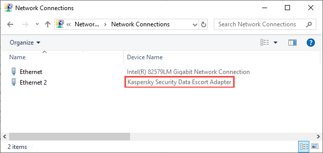 Kaspersky Security Data Escort Adapter displayed in Network Connections