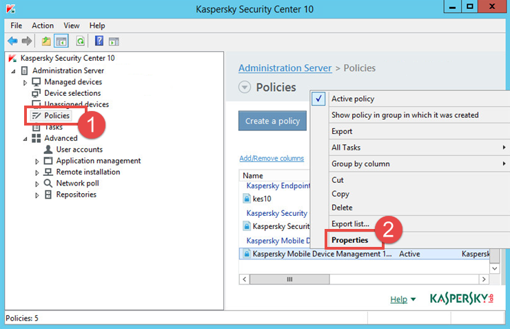 Image: the properties of the Kaspersky Security 10 for Mobile policy