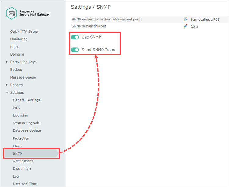 Managing SNMP traps in Kaspersky Secure Mail Gateway
