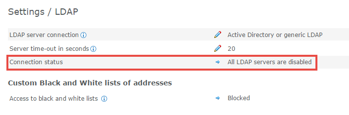 Checking the connection between Kaspersky Secure Mail Gateway and the server through LDAP