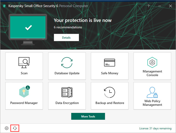 Opening the Support window of Kaspersky Small Office Security 6