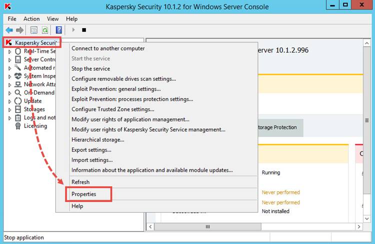 Image: Enabling tracing in Kaspersky Security 10 for Windows Server