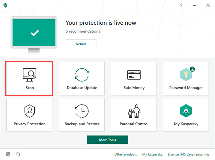 Opening the Scan section in Kaspersky Total Security 19