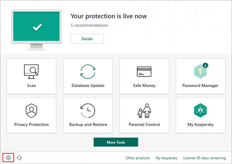 Opening the settings in Kaspersky Total Securitу 19