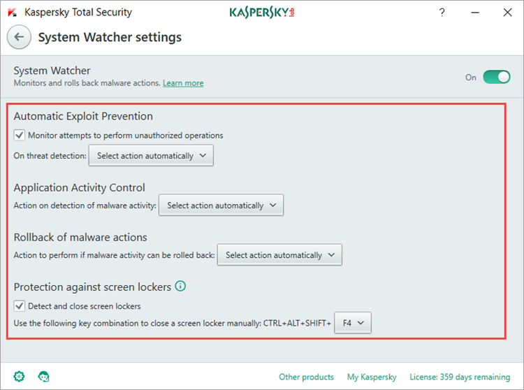 Image: the System Watcher settings window in Kaspersky Total Security