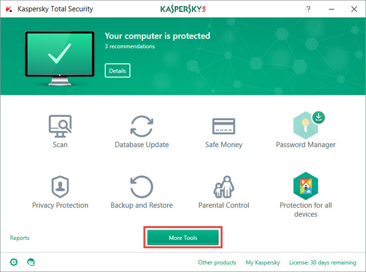 Image: the main window of Kaspersky Total Security 2018